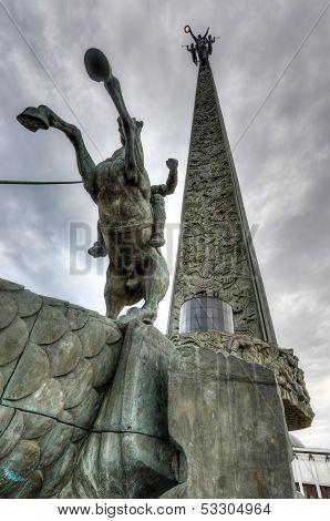Saint George Slaying A Dragon By Poklonnaya Hill Obelisk