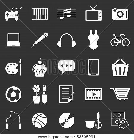 Hobby Icons On Black Background