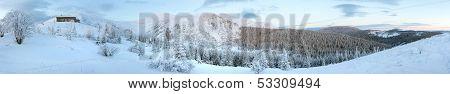 Morning Predawn Winter Mountain Panorama (carpathian, Ukraine).