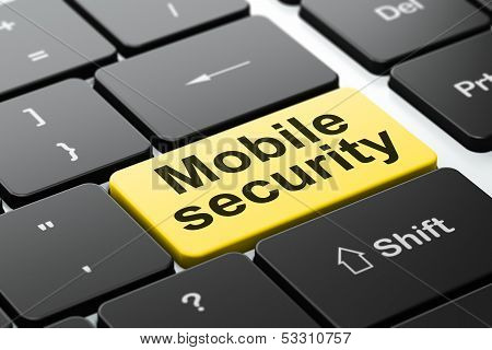 Mobile Security on computer keyboard