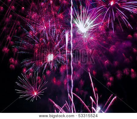 Fantastic Colorful Fireworks With Black Copyspace, Perfect For The New Year, Independence Day Or Oth