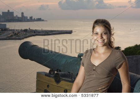 Havana City Sunset With A Beautiful Girl And Cannon