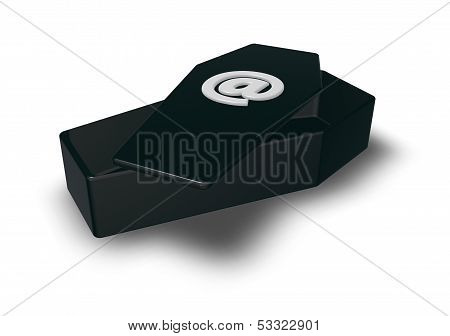 coffin with email symbol - 3d illustration poster