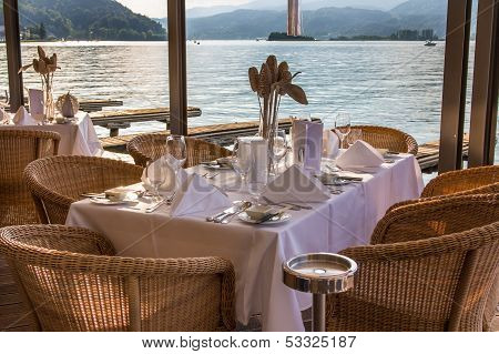 Luxurious Restaurant With Tables On Pier