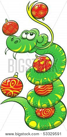 Green snake juggling Christmas balls