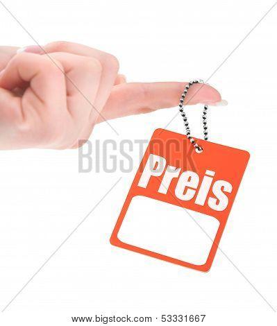 Hand Holding German Price Tag