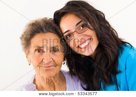 Loving family member doctor caring about elderly grandmother. poster