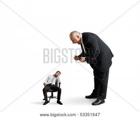 big angry boss screaming at small lazy worker. isolated on white background