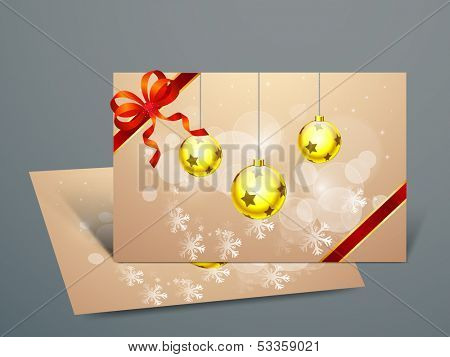 Beautiful Gift Cards for Happy New Year and Merry Christmas celebrations with red ribbon, golden Xmas balls on snowflakes decorated background and space for your wishes.