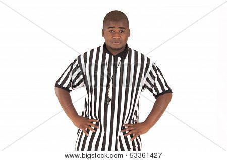 Referee Calling Football Offsides Or Basketball Blocking Foul
