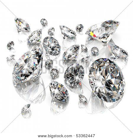 Brilliant diamonds isolated on white background