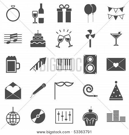 Celebration Icons On White Background
