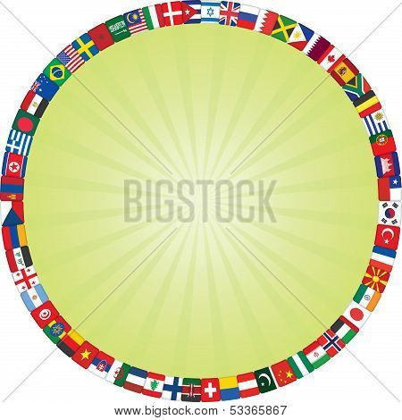 Flags  Frame Around Green Rays circle