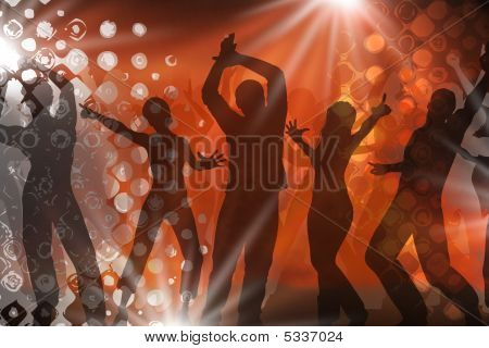 many people are dancing in a disco poster