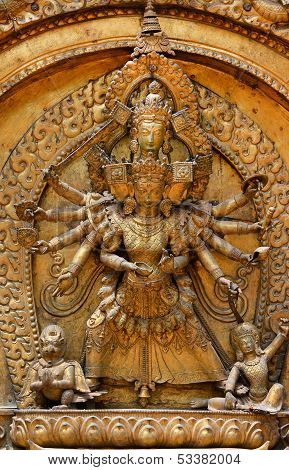 Brazen Relief, Sculpture Of Shiva The Destroyer. Kathmandu, Durbar Square, Nepal