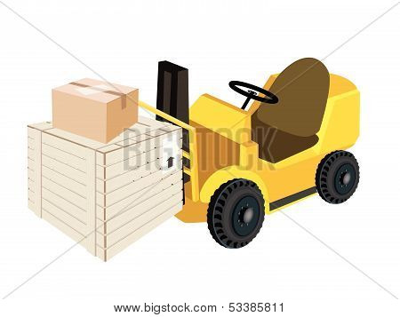 Forklift Truck Loading Shipping Box And Cardboard Box
