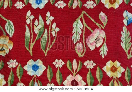 Closeup Of A Beautiful Carpet  Fabric Pattern