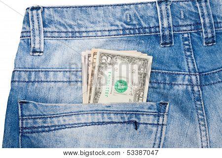 U.S. dollars in jeans pocket