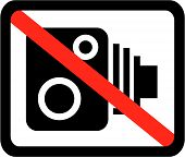Standard speed camera symbol with red strike through poster