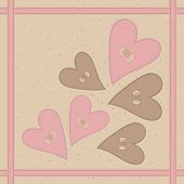 Seamless pattern with pink brown hearts buttons and braid. poster
