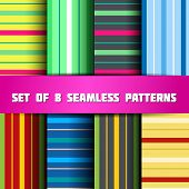 Set of 8 colorful seamless patterns with strips poster
