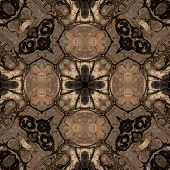 art nouveau geometric ornamental vintage pattern in brown poster