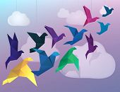 Origami Birds flying and fake clouds background poster
