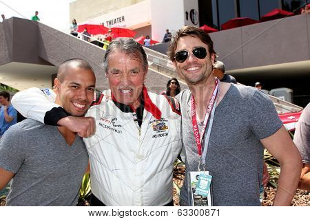 LOS ANGELES - APR 12:  Bryton James, Eric Braeden, Daniel Goddard at the Long Beach Grand Prix Pro/Celeb Race Day at the Long Beach Grand Prix Race Circuit on April 12, 2014 in Long Beach, CA