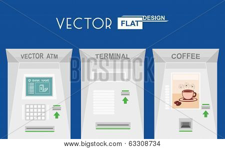Flat design atm, terminal, coffee