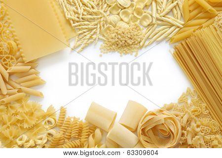 pasta assortment, italian food, copy space