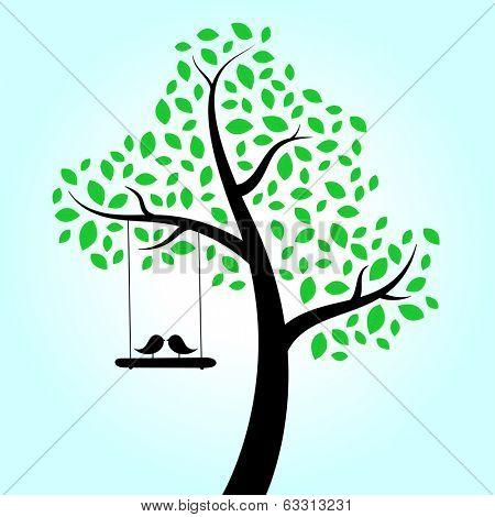 Love birds swinging in tree