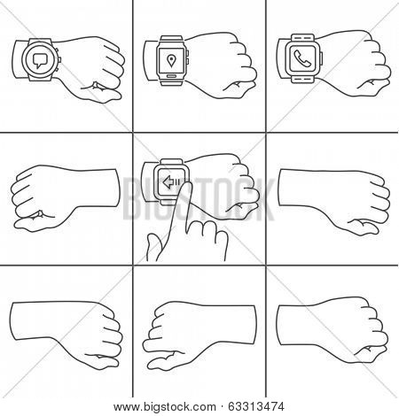 Collection of hands for smartwatch illustrations