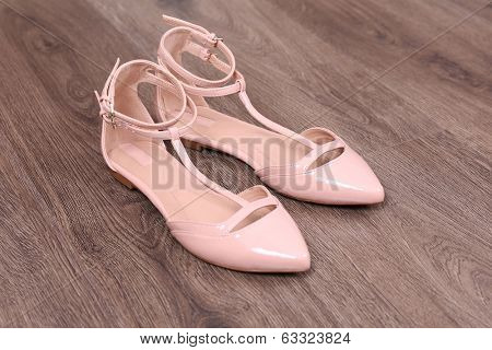 Female shoes on floor