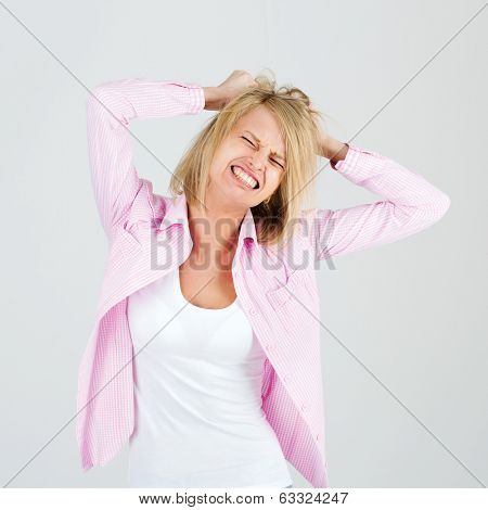 Photo of a young attractive girl in hysterics