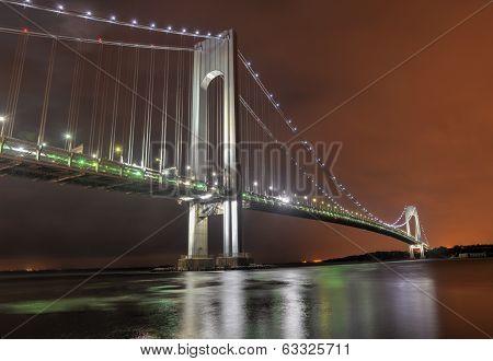 Verrazano Narrows Bridge At Night