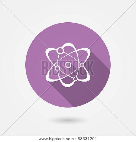 Molecule icon in round purple surround showing atoms orbiting around nucleus, vector illustration poster