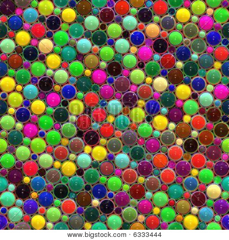 seamless texture of glossy rounds in different sizes and bright colors poster