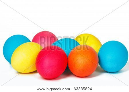 Many Easter eggs on a white background