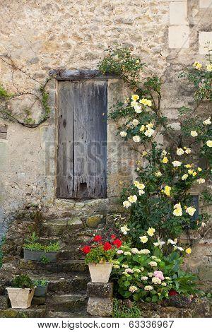 cottage with roses around door,