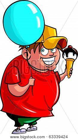 Cartoon boy with balloon