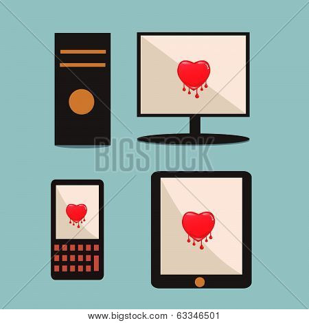 Heartbleed Software Bug On Computer, Mobile Phone, Tabet.technology Security Concept.