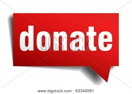 Donate Red 3D Realistic Paper Speech Bubble Isolated On White