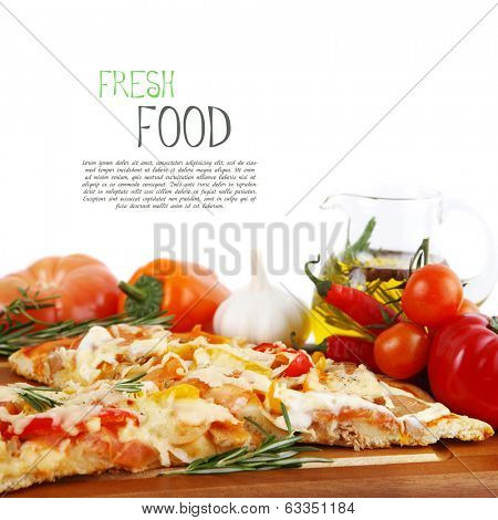 Pizza with tuna and paprika isolated over white background.  poster