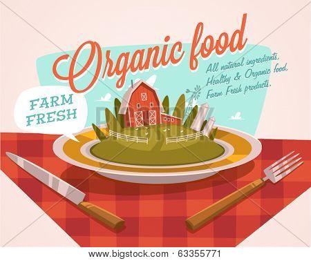 Farm fresh. Organic food. Retro style vector illustration.