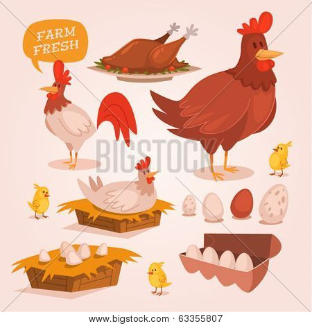 Chicken farm. Retro style vector elements.