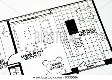 A floor plan focused on the living room and kitchen