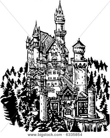 Neuschwanstein Castle illustration