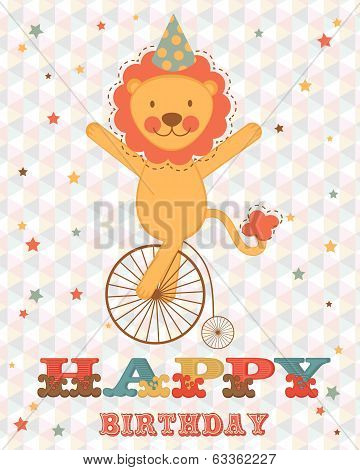 Happy birthday card with happy lion on wheel poster
