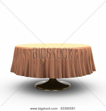 Round table with table cloth, 3d