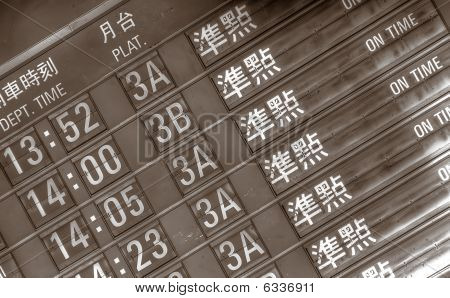 On Time Timetable Wrote In Chinese Words